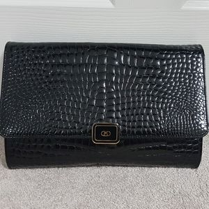 Vintage large croc embossed leather clutch